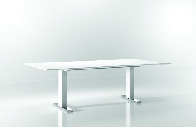 "Flow | Conference Table | White Glass Top | Foil Powdercoat T Base |  Chrome Foot | 96"" x 48"" Size"