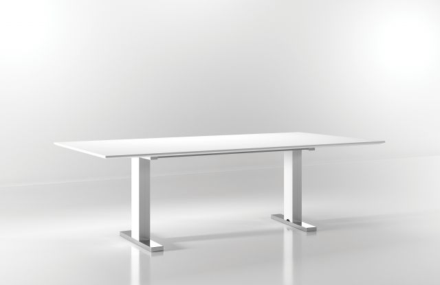 """Flow   Conference Table   White Glass Top   Foil Powdercoat T Base   Chrome Foot   96"""" x 48"""" Size"""