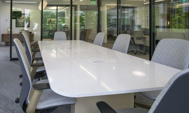Flow | Conference Table | Quartz Top | Euro Birch Linea Veneer Rectangle Base | WaFd Bank | Open Square