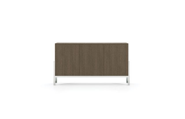 Flow | Credenza | M07 Bramble Rift Cut Oak Veneer | Cradle Base | Conference Height
