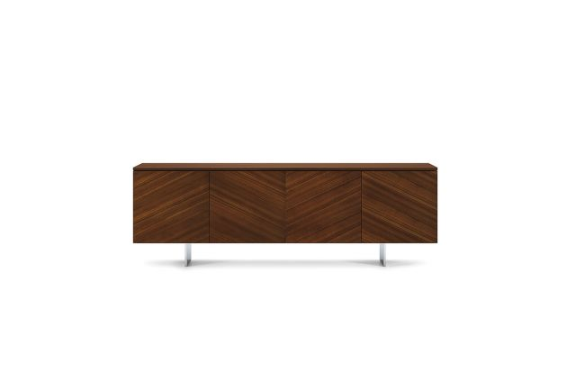 Flow | Credenza | Chevron Veneer | Blade Base | Conference Height