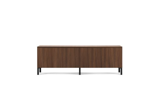 Flow | Credenza | M35 Marron Walnut Veneer | Edge Mounted Base | Conference Height