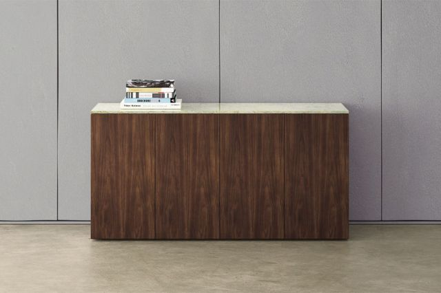 Flow | Credenza | Marron Walnut Veneer | Stone | Buffet Height