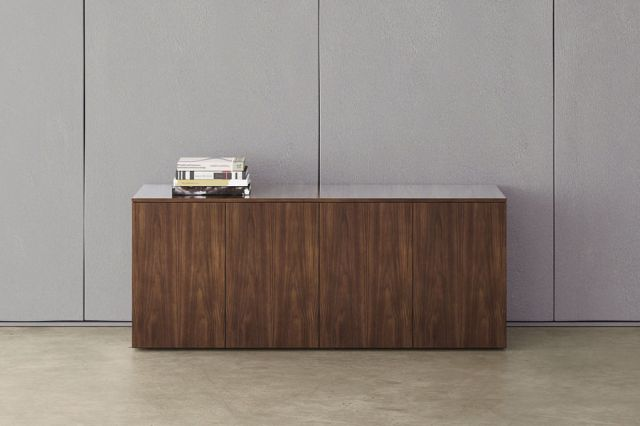 Flow | Credenza | Marron Walnut Veneer | Stone | Conference Height