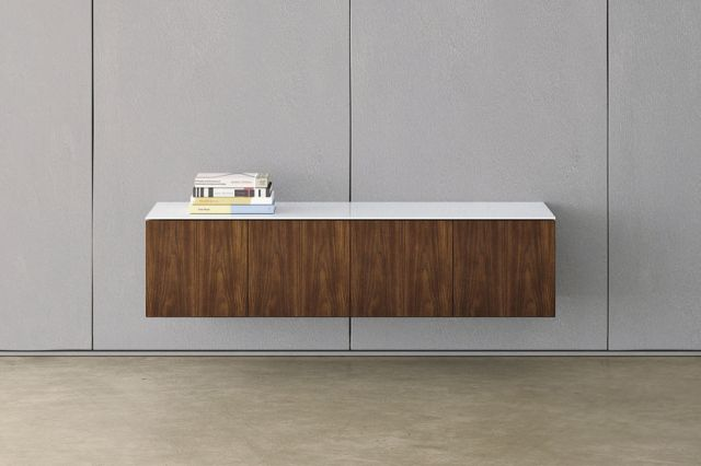 Flow | Credenza | Marron Walnut Veneer | White Gloss Glass Top | Wall Hung