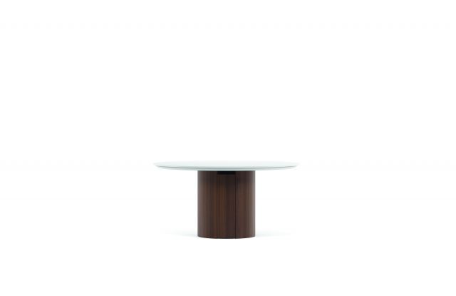 Flow | Conference Table | Round White Glass Top | M25 Marron Walnut Veneer Cylinder Base
