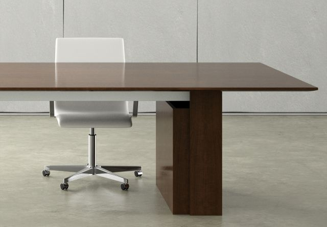 Flow | Conference Table | M35 Marron Walnut Veneer Top | Veneer Expandable Rectangle Base | Open