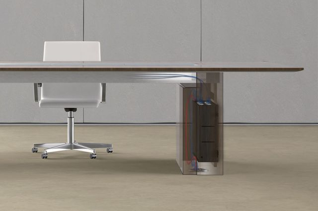 Flow | Conference Table | Veneer Top | Rectangle Expandable Base | Wire Management