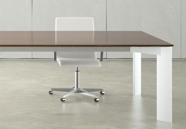 Flow | Conference Table | Rectangle M35 Marron Walnut Veneer | Clear Anodized Four Post Base | With Chair