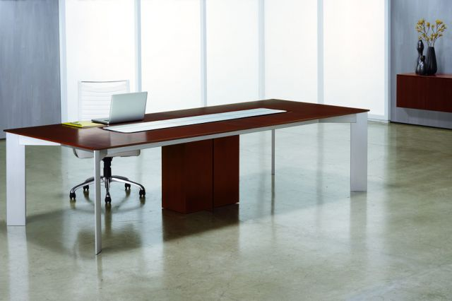 Flow   Conference Table   Rectangle Marron Walnut Veneer Top   Clear Anodized Four Post Base   Veneer Center Base   Power Island