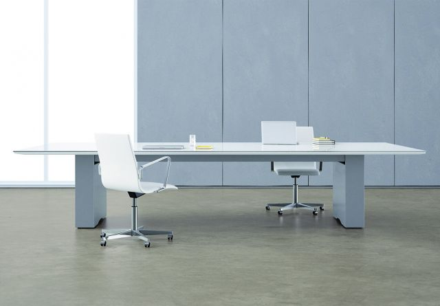 Flow | Conference Table | Rectangle White Glass Top | Cloud Paint Rectangle Base
