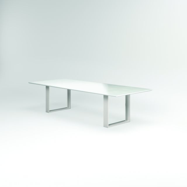 "Flow | Conference Table | Rectangle White Glass Top | Polished Chrome Hoop Base 84"" x 48"" Size"