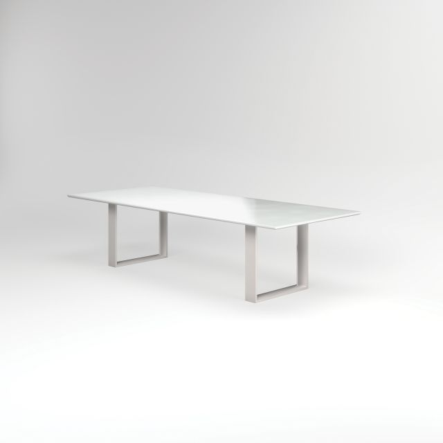 """Flow   Conference Table   Rectangle White Glass Top   Polished Chrome Hoop Base 84"""" x 48"""" Size"""