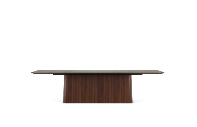"Flow | Conference Table | Radius Rectangle M35 Marron Walnut Veneer Top | Veneer Island Base | 120"" x 54"" Size"