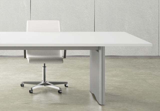 Flow | Conference Table | Rectangle Bright White Laminate Top | Foil Powdercoat Panel Base