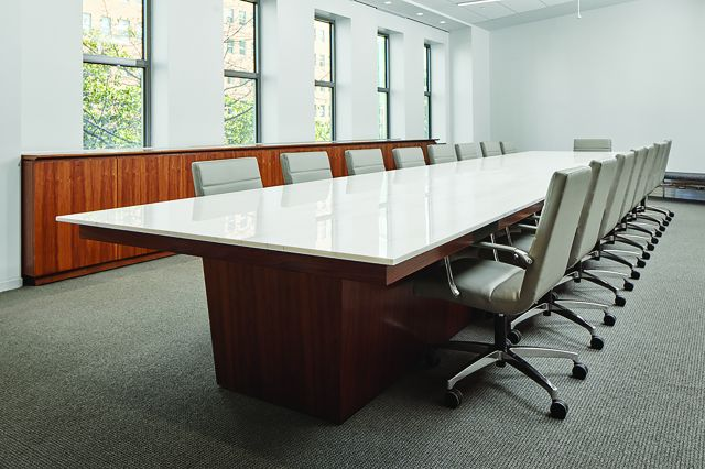 Flow | Conference Table | Custom | Rectangle Stone Top | Custom Veneer Base