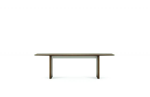"Flow   Conference Table   M35 Marron Walnut Veneer Rectangle Top   Veneer Panel Base   96"" Length"