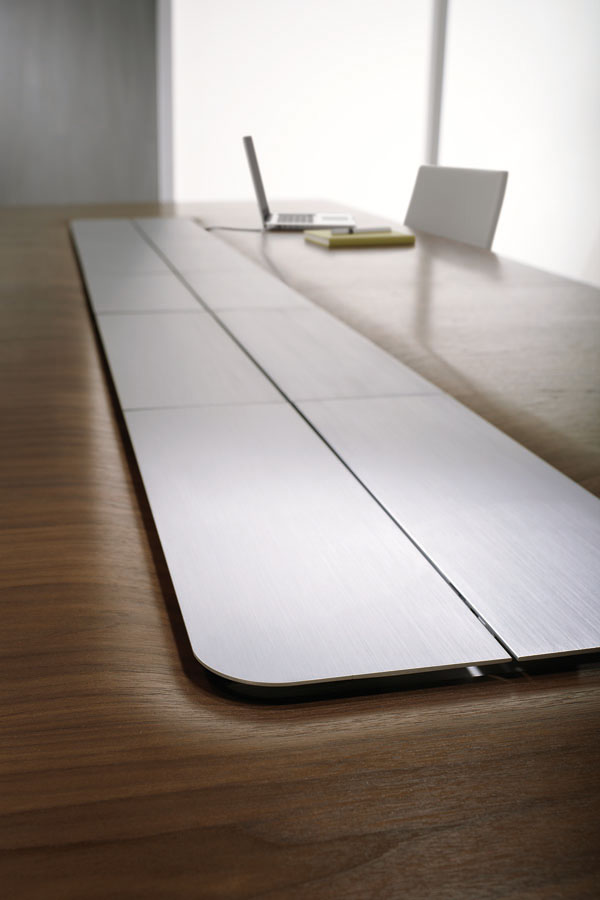 Flow XT | Conference Table | Veneer Top | Power Island | Metal Doors