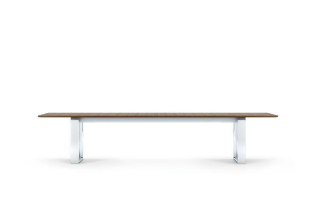 "Flow | Conference Table | Rectangle M35 Marron Walnut Veneer Top | Polished Chrome Hoop Leg Base | 144"" x 84"" Size"