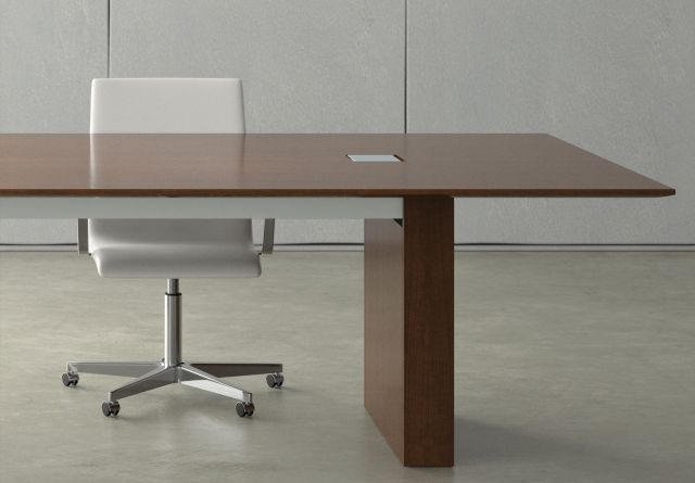 Flow | Conference Table | Rectangle M35 Marron Walnut Veneer Top | Veneer Rectangle Base | Small Power Matrix
