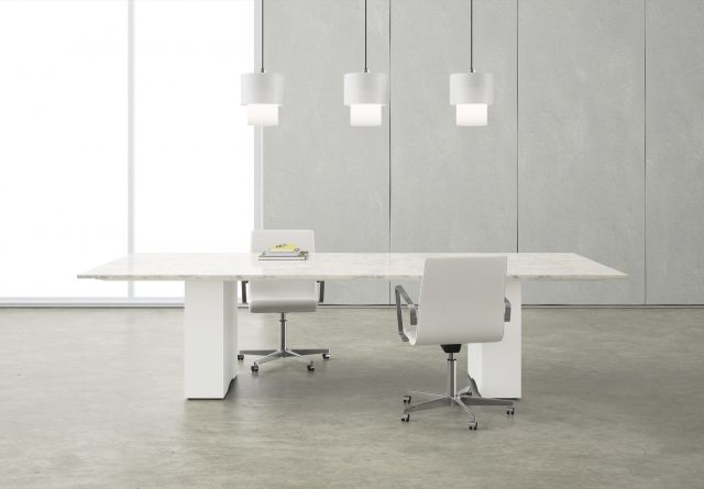 Flow | Conference Table | Custom Stone Top | Cloud Paint Panel Bases | With Chairs