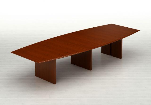 Forte   Conference Table   Boat Shaped G95 Spring Cherry Veneer Top   Veneer Panel Bases