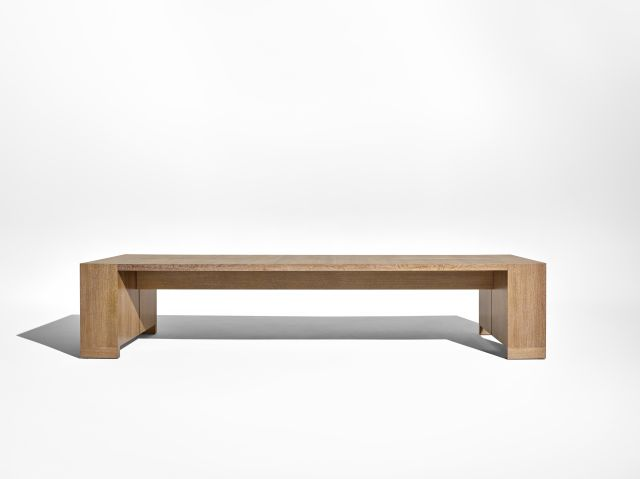Preston | Community Table | Flaky Oak | Side View