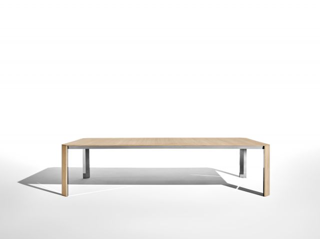Tova | Conference Table | Development Finish on Oak | Polished Chrome Underside | Side View