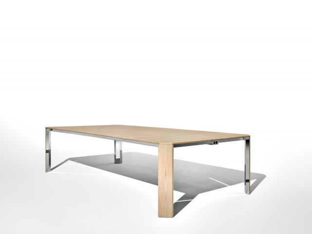 Tova | Conference Table | Development Finish on Oak | Polished Chrome Underside | Angled View