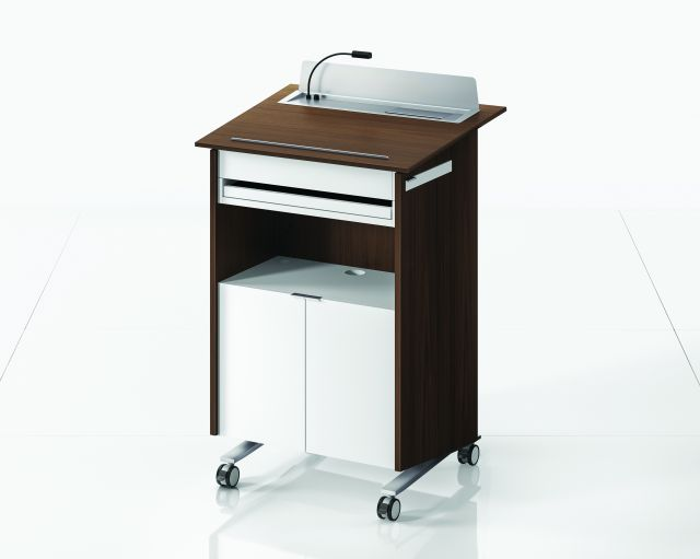 High Tech Lectern | Case | Marron Walnut Veneer |  White Painted Shelf | Back View