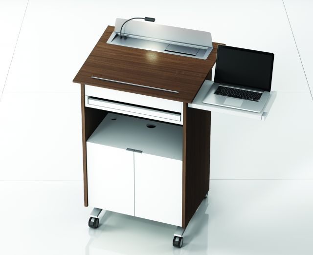 High Tech Lectern | Case | Marron  Walnut Veneer |  White Painted Shelf | Pull Out Shelf and Light