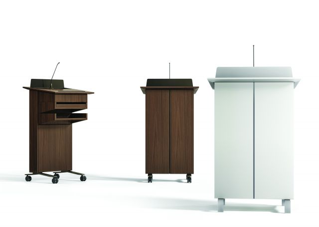 High Tech Lectern | Column | M35 Marron Walnut Veneer and Cloud Paint | Front and Side Views