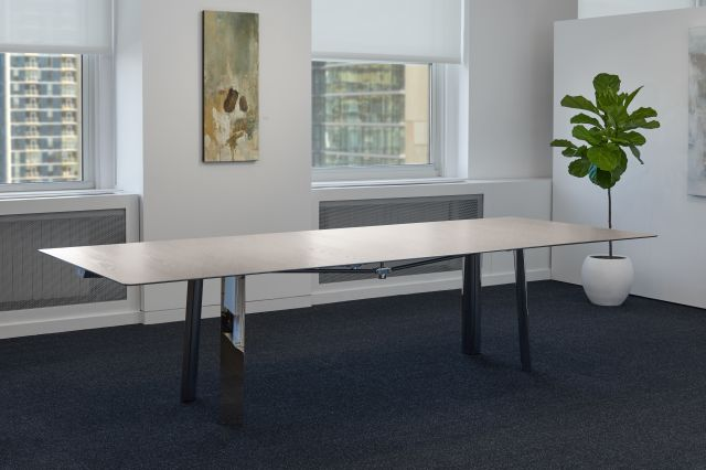 Kai | Conference Table | Rectangle Blanco Ash Veneer Top | Polished Chrome Metal Legs | Without Chairs | Chicago Showroom
