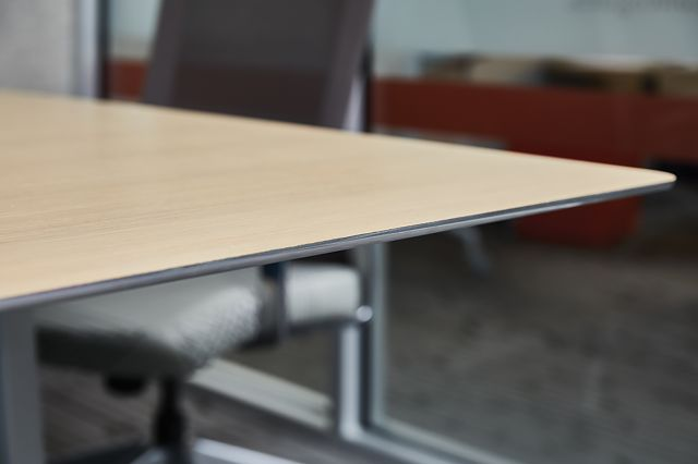 Kai | Conference Table | M49 Angora Ash Veneer Top | Edge Detail 2