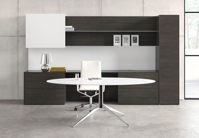 Merino | Casegood | Freestanding Application | Glass Ellipse Meeting Table