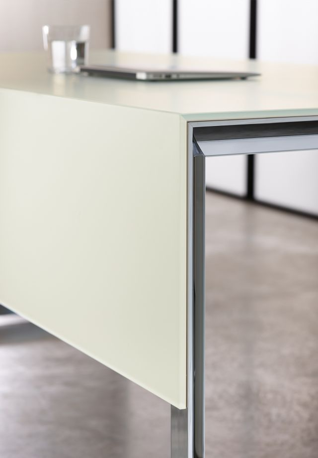 Merino | Casegood | Freestanding Desk |Meringue Satin Back-Painted Glass | Mitered Glass Corner