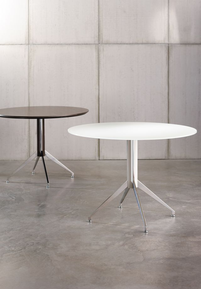 "Merino | Meeting Table | 36"" Round MS Meringue Satin Back Painted Glass and Polished Chrome X Base 
