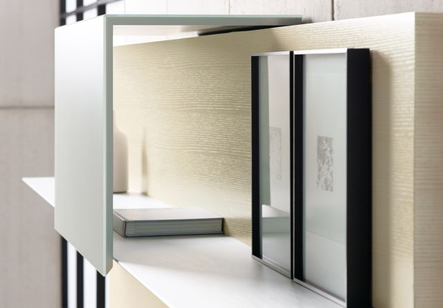 Merino | Casegood | Shelf | G48 Chalk Quartered Ash Veneer | MS Meringue Satin Back-Painted Glass Door | Clear Anodized Shelf