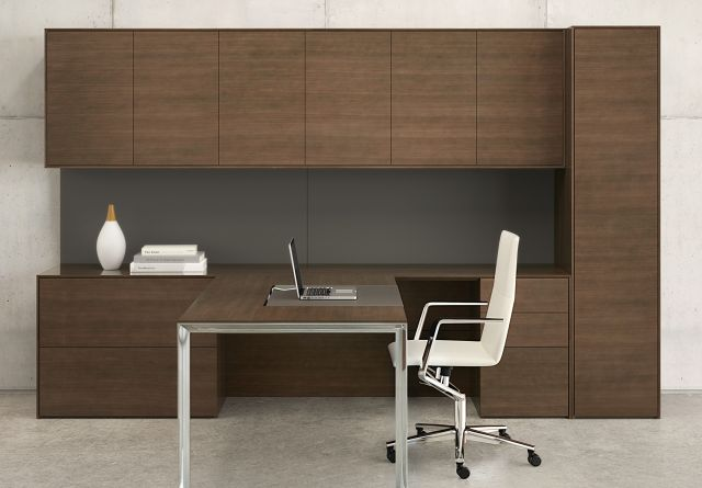 Merino | Casegood | Marron Quartered Walnut Veneer | Polished Chrome Leg | Custom GunMetal Tackboard | T Shape Desk