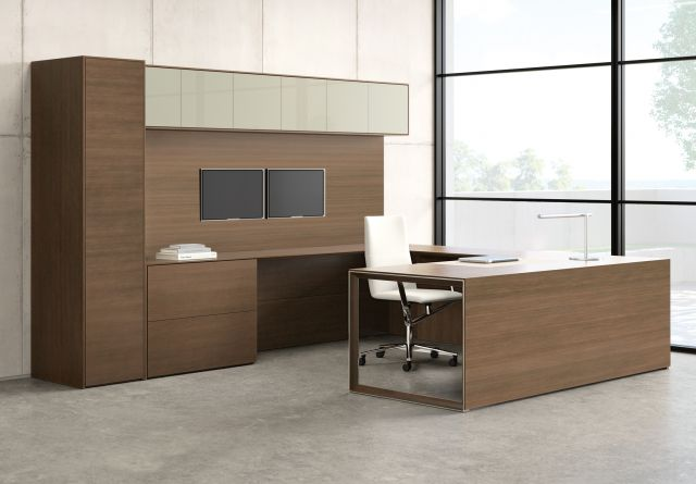 Merino | Casegood | M35 Marron Walnut Veneer | Polished Chrome Leg With Inset Veneer | U Shape