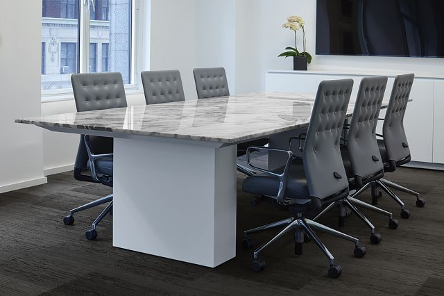 Flow | Conference Table | Rectangle Custom Stone Top | Cloud Paint Column Base | New York Showroom
