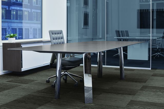 Kai | Conference Table | Custom Veneer Top | Polished Chrome Legs | New York Showroom
