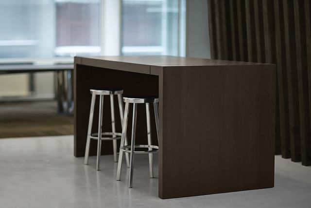 Tesano | Community Table | Custom Veneer | Standing Height | New York Showroom