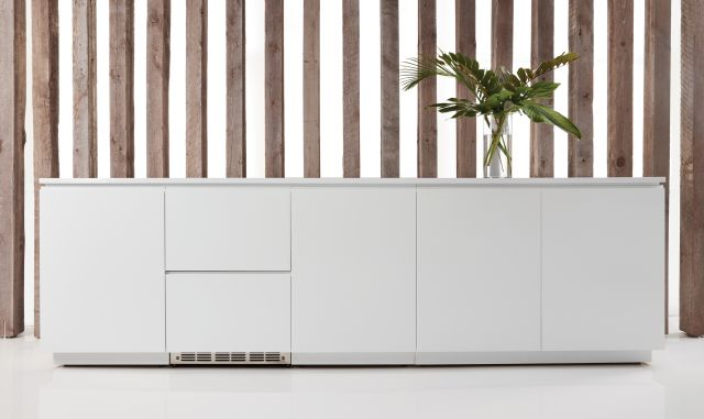 "Performance Credenza | Utility Credenza | Cloud Paint | White Solid Surface Top 120"" Length 