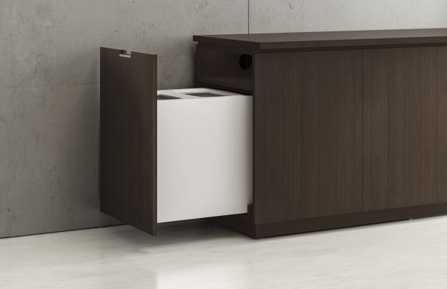 Performance Credenza | Utility Credenza | G30 Zinc Walnut Veneer | Pull Out Trash Detail