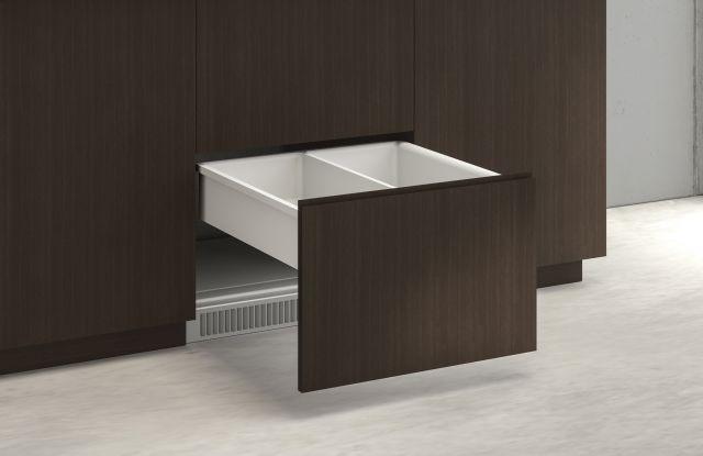 Performance Credenza | Utility Credenza | G30 Zinc Walnut Veneer | Refrigerator Drawer Front Detail