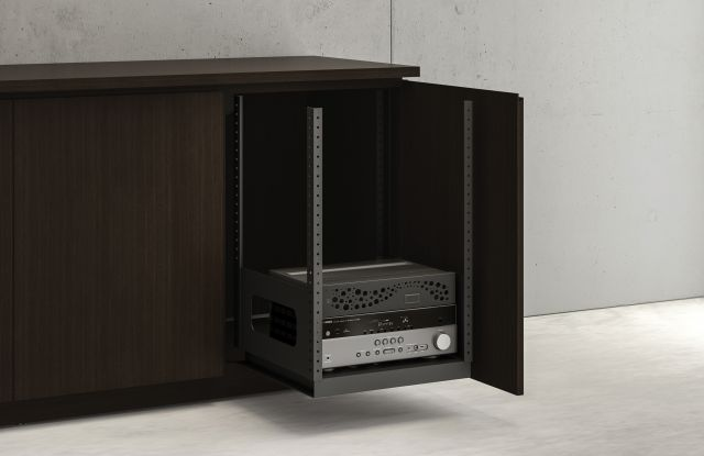 Performance Credenza | Utility Credenza | G30 Zinc Walnut Veneer | Av Equipment Rack