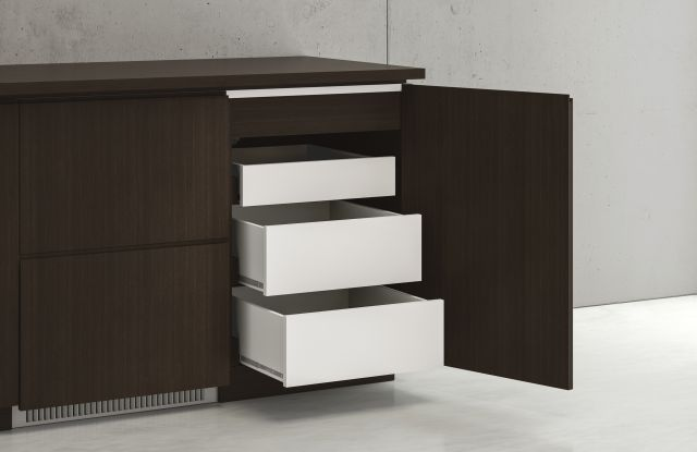 Performance Credenza | Utility Credenza | G30 Zinc Walnut Veneer | 3 Drawer Detail