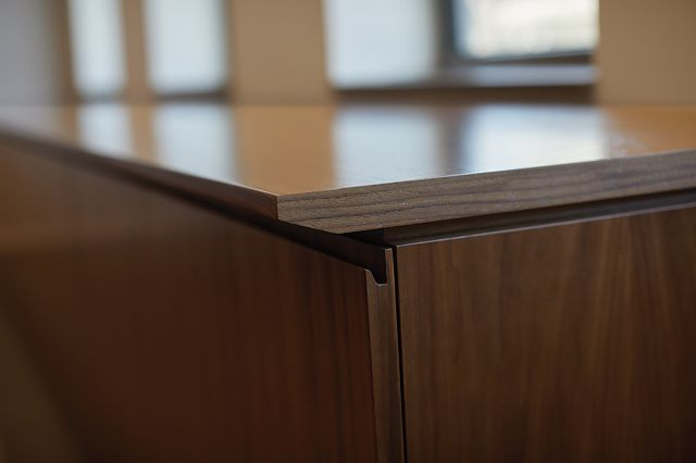 Performance Credenza | Food Service | Veneer | Integrated Pull | Edge Detail