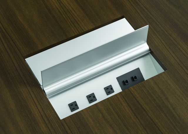 Power Matrix | Clear Anodized | Veneer Top Detail | Large Size